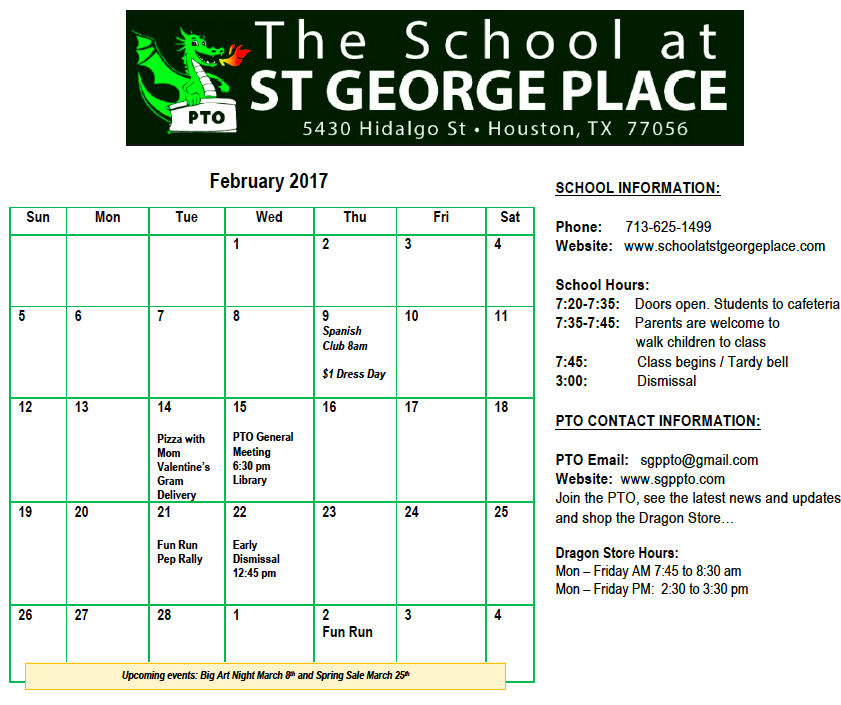 PTO NEWS FEBRUARY 2017 » School at St George Place PTO